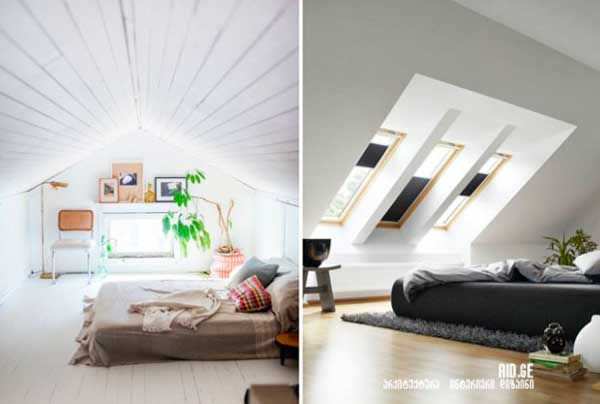 mansardis interieris dizaini