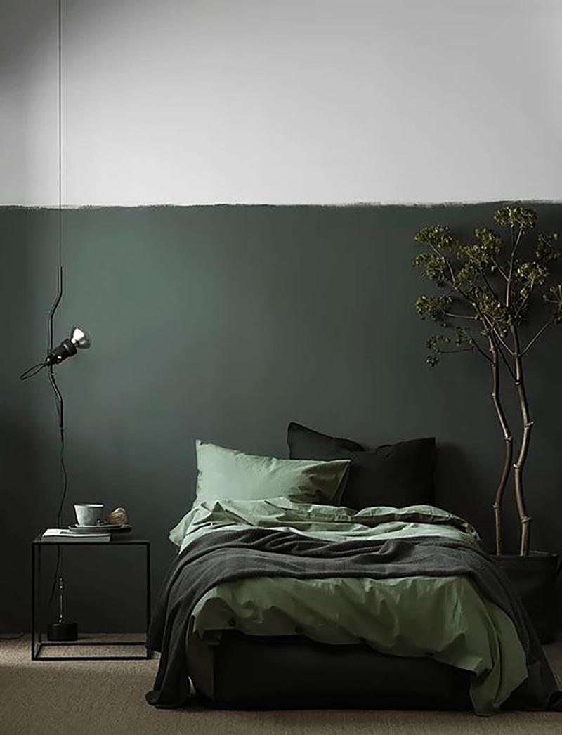 მუქი მწვანე კედლები
